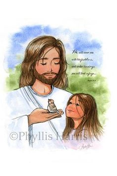 Jesus and the sparrow and little girl - Christian Children's Art Print - Available with or without Scripture Jesus Art, God Jesus, God Loves Me, Jesus Loves, Bible Art, Bible Verses, Scriptures, Jesus Drawings, Gods Princess