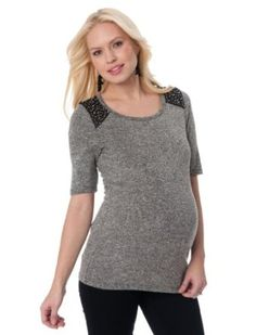 A Pea in the Pod: Elbow Sleeve Scoop Neck Beaded Detail Maternity T Shirt A Pea in the Pod. $69.50