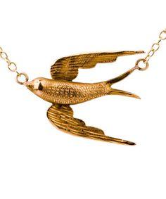 Swallow Victorian Brooch Conversion Necklace, Annina Vogel