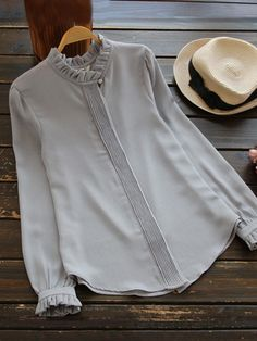 #SheIn - #SheIn Frilled Collar And Cuff Pleated Placket Blouse - AdoreWe.com