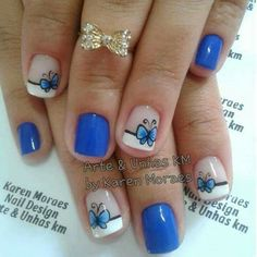 UÑAS Nails Now, Toe Nails, Butterfly Nail, Nail Art Stickers, Beautiful Nail Art, Cool Nail Designs, Trendy Nails, Flower Designs, Hair And Nails