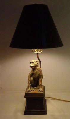 "EUC Monkey Lamp Sitting Chimp With Shade 24"" Tall Safari Money Table Lamp"