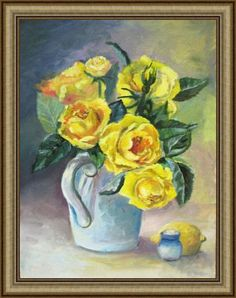 Bouquet of yellow roses, Original oil roses, Original Oil Floral, Oil painting, Yellow roses, Roses in a jug, Wall art by ArtannaStore on Etsy