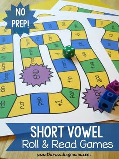 These FREE Short Vowel Roll and Read Games make a quick and easy before reading activity to practice short vowel phonics words.