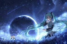 Aqua Hair, Aqua Eyes, Hatsune Miku, Blonde Hair, Short Hair Styles, Animation, Manga, Anime, Landscape