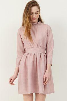 Cyndi Fit and Flare Dress . Discover the latest 2017 #fashion trends online at storets.com  #pinkdress #pleateddress #dress