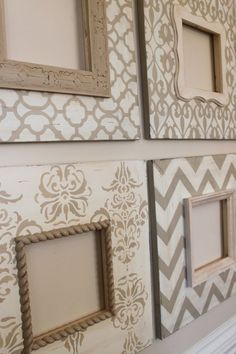 New Wall Stencil Patterns Bedrooms Dressers Ideas Picture Frame Crafts, Painted Picture Frames, Picture On Wood, Picture Frame Decorating Ideas, Vintage Picture Frames, Wall Stencil Patterns, Vintage Diy, Diy Frame, How To Distress Wood
