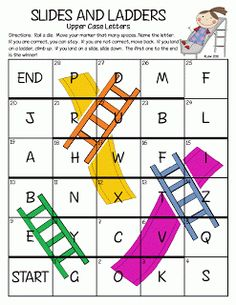 ABC Slides and Ladders. Fun letter recognition game for preschool. Literacy Games, Preschool Learning, Kindergarten Activities, Literacy Centers, Abc Games, Letter Games, Alphabet Activities, Letter Identification Activities, Letter Sound Activities
