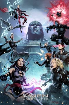 X-Men: Apocalypse promotional artwork by Khary Randolph & Emilio Lopez. Comics Anime, Marvel Comics Art, Disney Marvel, Marvel Dc Comics, Marvel Heroes, Marvel Characters, Marvel Movies, Cosmic Comics, Xmen Apocalypse