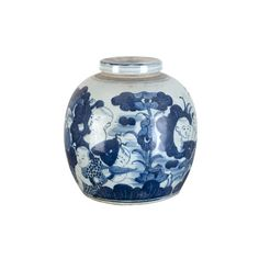Blue and White Melon Jar (325 CAD) ❤ liked on Polyvore featuring home, home decor, home accessories, vase, blue and white home decor and blue and white jar