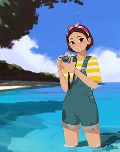 "Summer Special ""Click"", Hong SoonSang on ArtStation at… Camera Illustration, Character Illustration, Character Concept, Character Art, Concept Art, Cartoon Drawings, Cartoon Art, Camera Drawing, Anime Lineart"