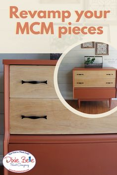 Is mid century modern your style? Get creative with a furniture makeover in the colors Rusty Nail, Colonel Mustard, and Chocolate by Dixie Belle Paint! Diy Furniture Projects, Repurposed Furniture, Furniture Makeover, Orange Painted Furniture, The Joy Of Painting, Paint Companies, Dixie Belle Paint, Mineral Paint