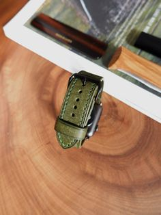 Shop bespoke green apple watch straps / bands for Series 4 & Made from finest Italian genuine leather. Green Leather, Tan Leather, Apple Watch Leather Strap, Watch Straps, Classic Leather, Apple Watch Bands, Vegetable Tanned Leather, Handmade Leather, Anton