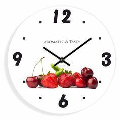 Biele kuchynské hodiny s ovocím Ale, Strawberry, Tasty, Fruit, Cherry Kitchen, Home Decor, Decoration Home, Room Decor, Ale Beer
