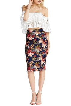3d3ac9f24a Womens Fashion Trendy Navy Floral Midi Pencil Knee High Classic Skirt Made  in USA Women's Skirts