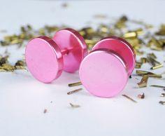 Stud Earrings – Metallic Pink Button Pair Stud Earrings Men Women – a unique product by mailtown on DaWanda