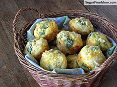 Cheddar Broccoli Cornbread Muffins / sugarfreemom.com