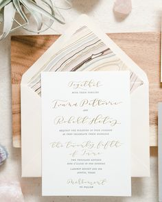 Romantic Blush and Gray Letterpress Calligraphy Wedding Invitations by Paper & Honey