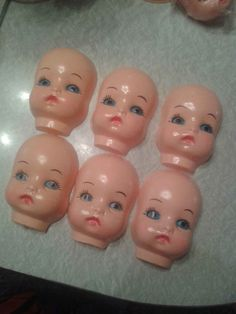 Vintage plastic crafting doll masks/ faces by TheVintageGambler