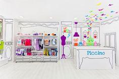 Жизнерадостный интерьер магазина детской одежды Piccino