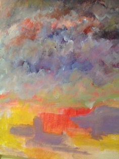 Abstract Acrylic Landscape 12x12 gallery wrap canvas original painting on Etsy, $65.00