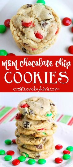 M&M Chocolate Chip Cookies - everyone raves over these soft and chewy chocolate chip cookies. Switch out the M&M's to match any holiday or party. #M&Mcookies #chocolatechipcookies #christmascookies