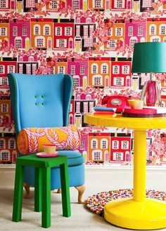 Love these pops of color, you could use all of them, or pick and choose. I adore this wallpaper...how much fun!