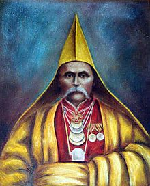 Kalmyk people - Wikipedia, the free encyclopedia Portrait painting of Lama Mönke Bormanshinov wearing the traditional yellow hat by Alexander Burtschinow.