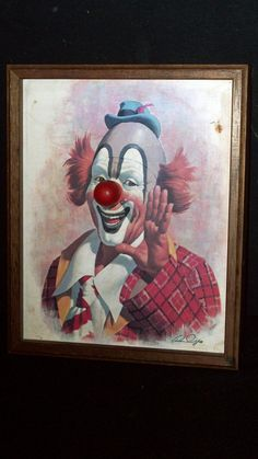 Vintage Wooden Clown Picture w/ Musical Wind-Up Nose - Plays Send in the Clowns
