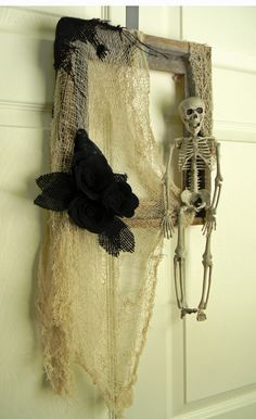 Skeleton and Crow Halloween: Wood and Felt Square Picture Frame Wreath 13x11inch on Etsy, $46.00
