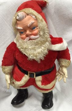 Vintage 1950s Santa Claus Plush MY TOY 20in Rubber Face Hands Boot Stuffed Doll