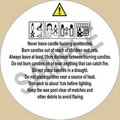 Candle Safety Labels (Pictogram) - Pack of 25 Labels (Large) :: The Candle Making Shop