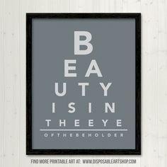free printable art eye chart quote i - Free Printable Bathroom Art