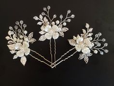 Bridal Hair Pins, Crystal and Pearl Flower Hair Pins, Pearl Petal Hair Vine, Wedding Hair Accessory, Bridal Shower Gift