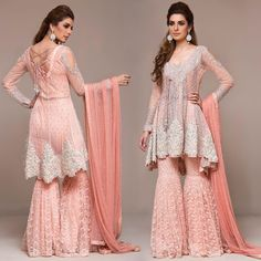 Zainab Chottani. Short peach angarkha with heavily embellished work in kora dabka, pearls and sequins on the neckline with sequins pattern all over the front; embellished bustier and gharara pants