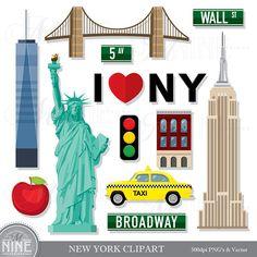 SALE NEW york clip art commercial use kawaii clip art New York Images, New York Photos, New York Party, Clipart, Photo Album Scrapbooking, Digital Scrapbooking, Carte New York, New York Cake, Liberty Party
