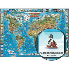 Children's Illustrated Map of the World by Round World Products - $15.95