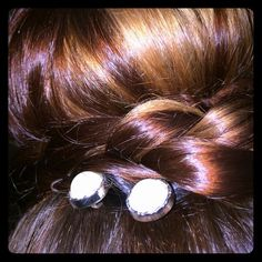 4 Glam pearl bobby pins set on sturdy silver pins. Set of 4 handmade sturdy silver colored bobby pins with light cream/white colored pearls (depending on the light) set in silver colored bezels. Perfect for dressing up your hair quickly! Accessories Hair Accessories