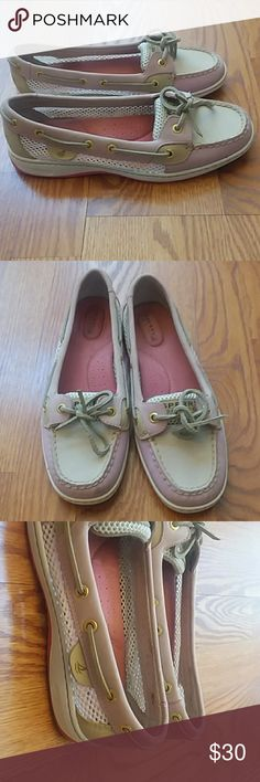 Pink sperry topsliders SUPER CUTE! Excellent used condition!! Check out the pictures. Pastel pink and brown leather. if you have any questions please ask. Sperry Shoes Flats & Loafers