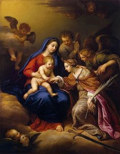 St. Catherine of Siena | http://www.saintnook.com/saints/catherineofsiena - Pierre Mignard - Mystic Marriage of St Catherine - WGA15656.jpg