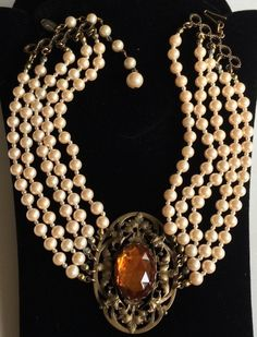 Vintage Miriam Haskell Five Strand Choker Necklace~Champagne Pearls/Amber Glass