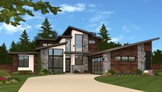 Exclusive Modern House Plan with Kitchen at the Center - 85134MS | 1st Floor Master Suite, Bonus Room, Butler Walk-in Pantry, CAD Available, Den-Office-Library-Study, Exclusive, Modern, Northwest, PDF, Split Bedrooms | Architectural Designs