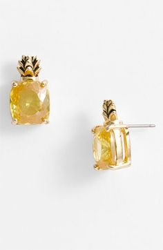 Juicy Couture Ocean Couture Pineapple Stud Earrings. My birthstone and tropical themed...gotta have em.