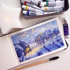 USA  - @martynmarin • • • • • • Repost from @martynmarin - Половина акварельного молескина заполнена какой-то ерундой) в какой-то момент мне стало жалко его портить, и я перестала в нем рисовать и убрала подальше в шкаф. И только из-за отсутствия акварельной бумаги, пришлось к нему вернуться пожалуй, дам ему ещё один шанс!  #martynmarin_illustrations #watercolors#watercolor #waterblog#watercolorpainting #art #artwork#arts_help #art_we_inspire #aquarelle#painting #акварель #живопись#mole...