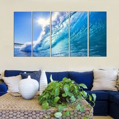 Framed Canvas Print Sea Wave on Beach Canvas Print Art Photo Painting HUGE Nature Picture LARGE Ready to Hang- 5 PANELS