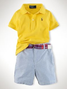 Polo & Seersucker Short Set - A classically preppy set includes a cotton mesh polo, seersucker short and coordinated madras ribbon belt.
