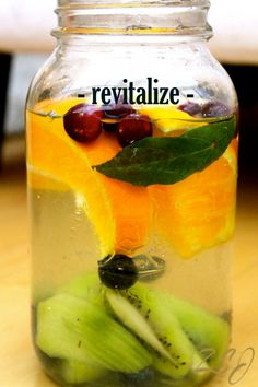 Revitalize ~ This vitamin water gives your adrenal glands a boost.  If you suffer from adrenal exhaustion or fatigue due to stress, overwork, improper nutrition, lack of sleep or any other hormonal issues, this vitamin water will help to revitalize and nourish your glands with dosha balancing ashwagandha, maca, high doses of natural vitamin C camu camu, cranberry, orange and kiwi.