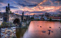 вечер, чехия, прага, река, мост, czech, republic, prage, sities, город