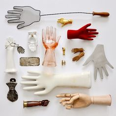 Hand collection finally photographed for #dscollections / glove molds, artist's model, bottle opener, door knocker, santos, hamsa, and (favorite!) a fly swatter / @alexandrapoterack on Instagram