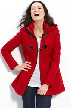 red winter coat. I'm going to need a jacket/coat closet in our house. I love coats
